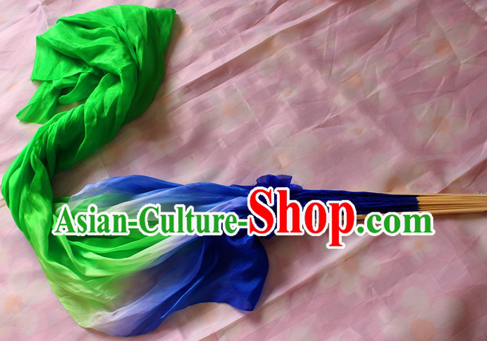 Chinese Blue to Green Colour Transition Long Silk Dancing Fan