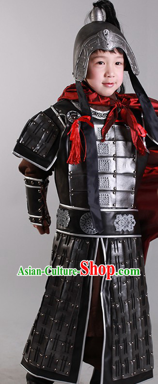 Ancient Chinese General Armor Costumes and Helmet for Children