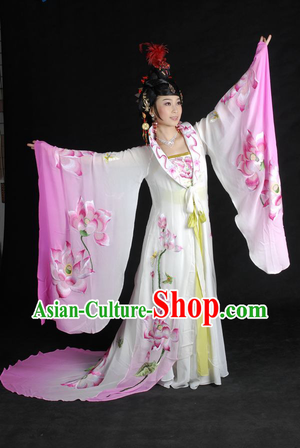 Ancient Chinese Embroidered Lotus Empress Costumes and Wig Complete Set