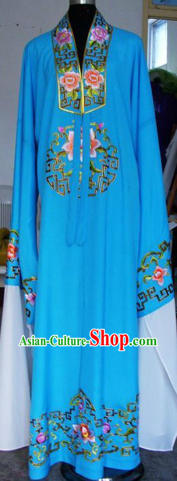 Ancient Chinese Opera Blue Long Sleeve Robe for Men