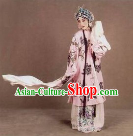Ancient Chinese Opera Flower Embroidery Young Women Long Sleeve Robe