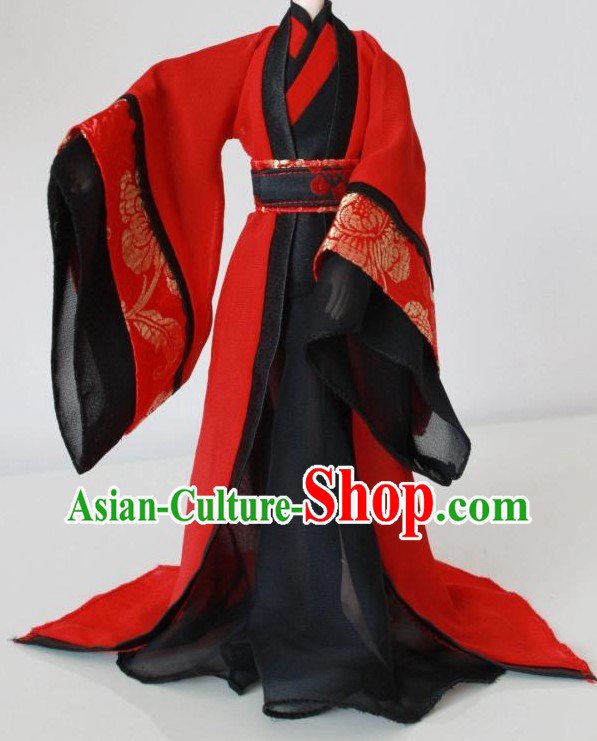 Ancient Chinese Red and Black Wedding Dress for Men