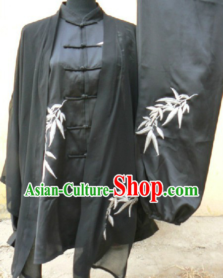 Black Long Sleeves Martial Arts and Tai Ji Clothing Complete Set