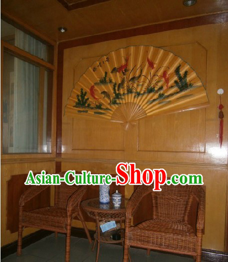 Large Gold Chinese Koi Hand Painted Wall fan