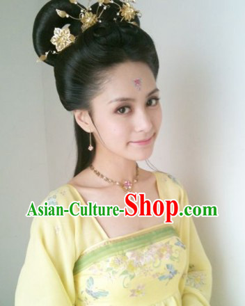 Zhong Xintong Black Long Fairy Wig and Golden Hair Accessories Set