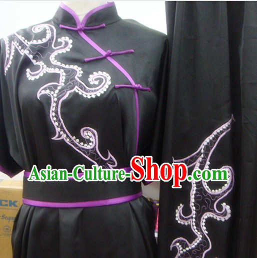 Traditional Chinese Black Color Transition Silk Martial Arts Kung Fu Phoenix Tail Uniform