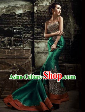 Traditional Chinese Green Fish Tail Evening Dress