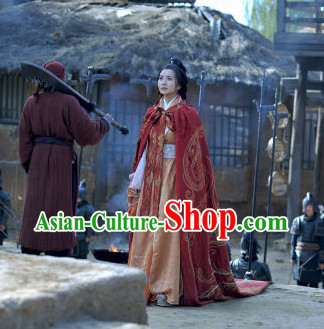 Ancient Chinese Three Kingdoms Diao Chan Clothes and Cape Complete Set for Women