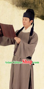 Ancient Chinese Tang Dynasty Male Robe and Hat for Men