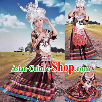Traditional Chinese Miao Silver Hat Necklace and Clothing for Ladies