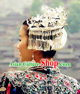 Traditional Hmong Miao Silver Headwear for Girls
