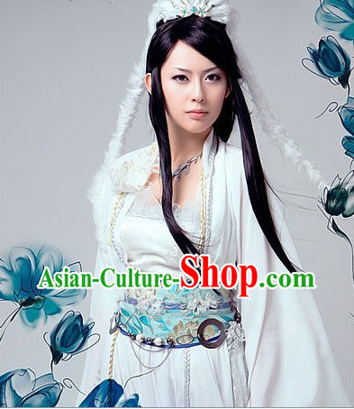 Ancient Chinese Pure White Lu Xueqi Costumes and Headdress