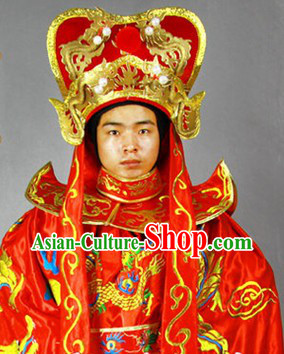 Red Bian Lian Mask Changing Dragon Embroidery Costumes Hat and 12 Masks Complete Set