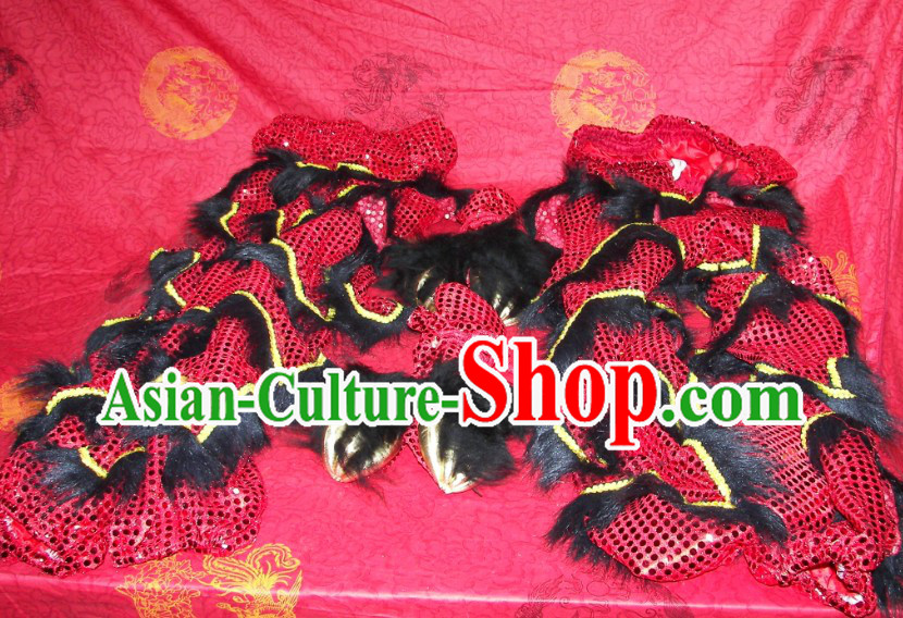 Imitation Wool Chinese Festival Celebration Two Pairs of Lion Dance Pants and Shoes Covers