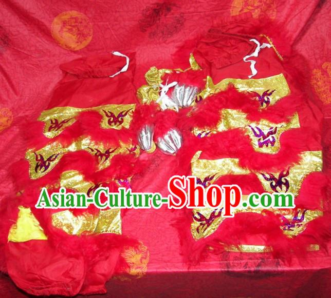 Traditional Chinese Bat Fu Pattern Two Pairs of Lion Dance Pants and Shoes Covers