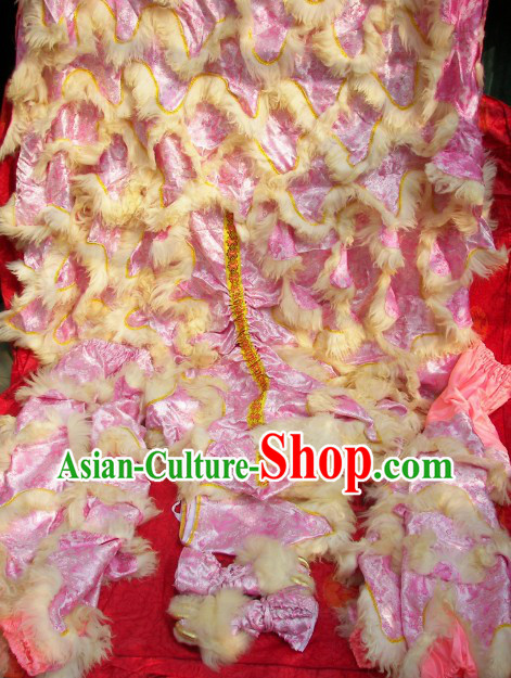 Top Quality Dragon Brocade Fabric Long Wool Chinese Lion Dance Tail Pants and Claws Covers Set