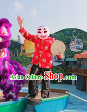 Happy Festival Celebration Laughing Mask, Red Blouse, Black Pants and Dance Fan Complete Set