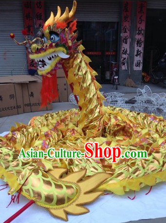 Gold Color Chinese Lunar New Year Events Celebration Dragon Dance Costumes Complete Set