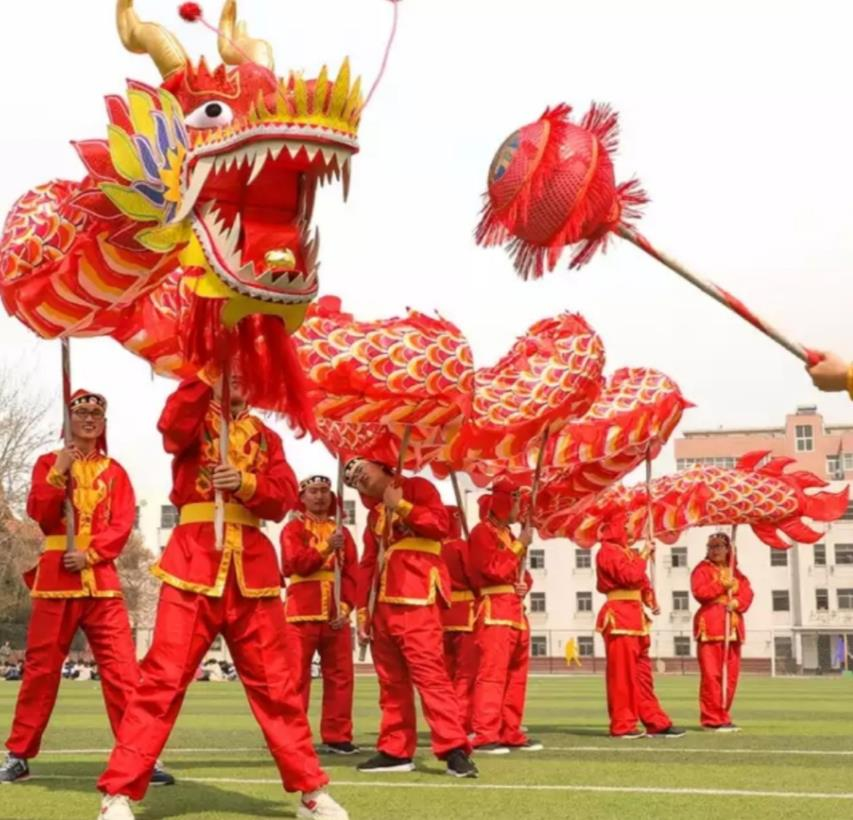 Red Chinese Lunar New Year Events Luminated Dragon Dancing Costumes Complete Set