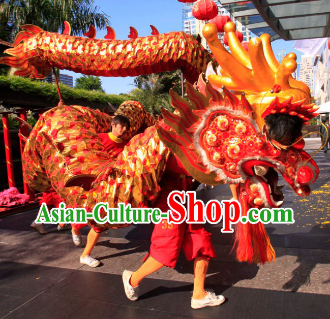 Red Chinese New Year Parade Long Wool Dragon Dance Costumes Complete Set