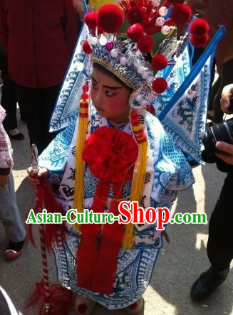 Chinese Beijing Opera General Armor Costumes and Helmet for Children