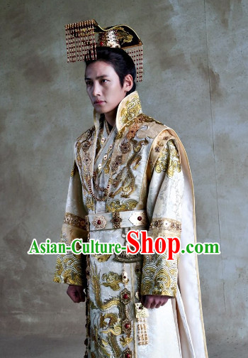 Ancient Korean Imperial Emperor Dragon Clothing and Crown Complete Set