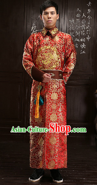 Traditional Chinese Qing Dynasty Prince Clothes Complete Set