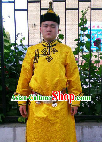 Mongolian Male Clothing and Hat Complete Set