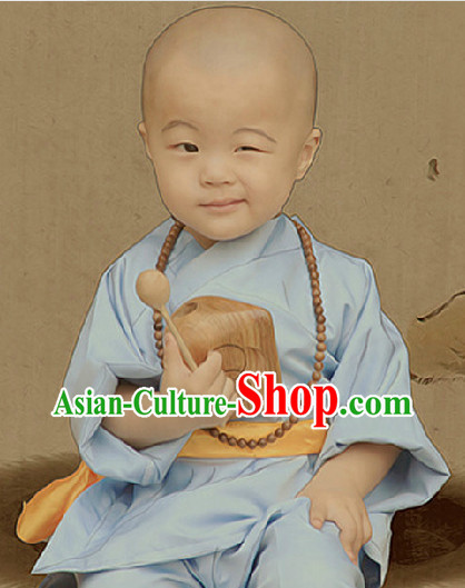 Traditional Monk Uniform and Wooden Fish for Kids