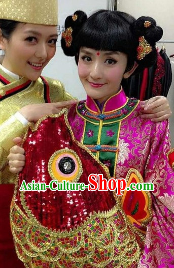 Chinese New Year Celebration Parade Costumes and Headwear Complete Set for Women