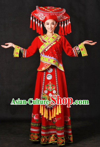 Top Zhuang Recital Dance Costumes and Hat Complete Set for Girls
