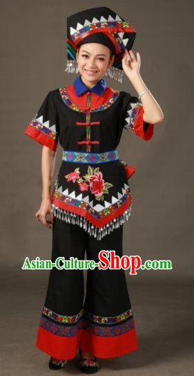 Zhuang Ethnic Minority Stage Costumes and Hat for Girls