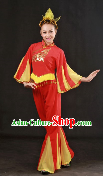 Han Ethnic Minority Stage Costumes and Hat for Girls
