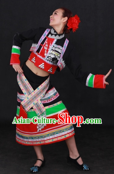 Dai Ethnic Traditional Dresses and Headwear Complete Set for Women