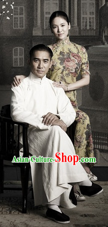 The Grandmaster Long White Mandarin Collar Flax Robe