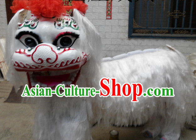 White Northern Lion Dance Costumes Complete Sets for Two People