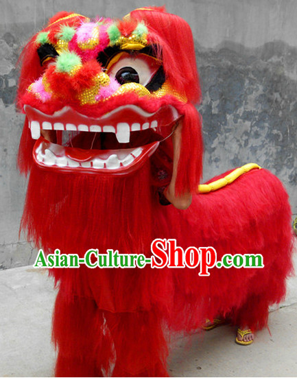 Red Happy Smiling Two People China Northern Lion Dance Costumes Complete Set
