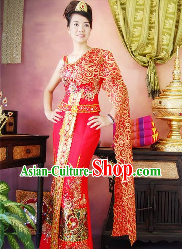 Burma Traditional Wedding Dresses Clothing and Headwear Complete Set for Brides