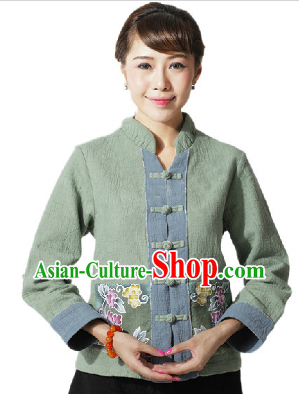 Hands Painted Mandarin Traditional Jacket for Women