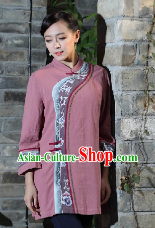 Hands Painted Mandarin Traditional Long Blouse for Women