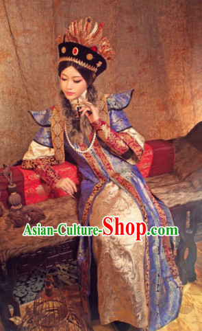 Qing Dynasty Empress Clothes and Hat Complete Set