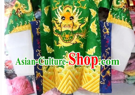 Chinese Peking Opera Guan Gong Guan Yu Green Costumes for Kids