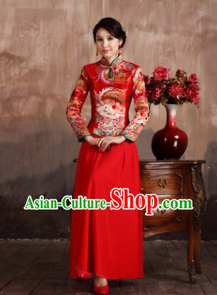 Classical Red Phoenix Wedding Mandarin Dress and Skirt Complete Set for Brides