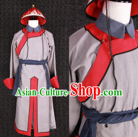 Qing Dynasty Imperial Guard Solider Costumes and Hat Complete Set