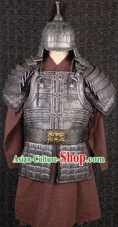 Ancient Chinese Film Costumes General Armor Clothes and Helmet Complete Set for Men