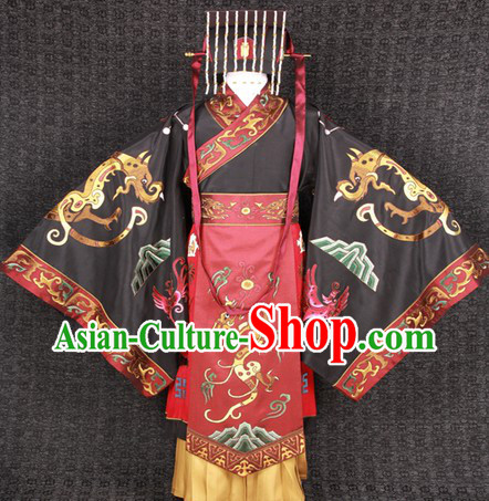 Ancient Chinese Film Costumes Emperor Clothes and Crown Complete Set for Men