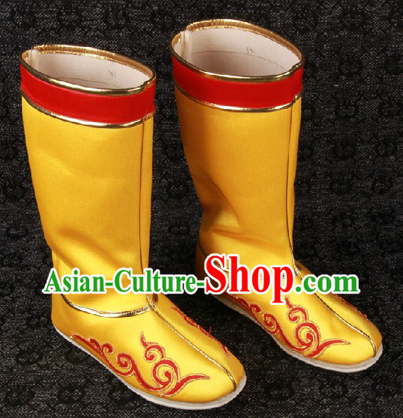 Ancient Chinese Gold Color Handmade Long Hanfu Boots