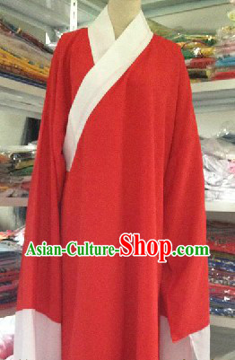 Traditional Chinese Red Long Robe Water Sleeves Costumes