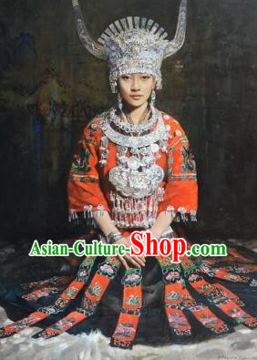 Traditional Chinese Miao Nationality Clothing and Silver Hat Complete Set