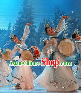Stage Performance Korean Ethnic Dance Costumes and Headwear Complete Set